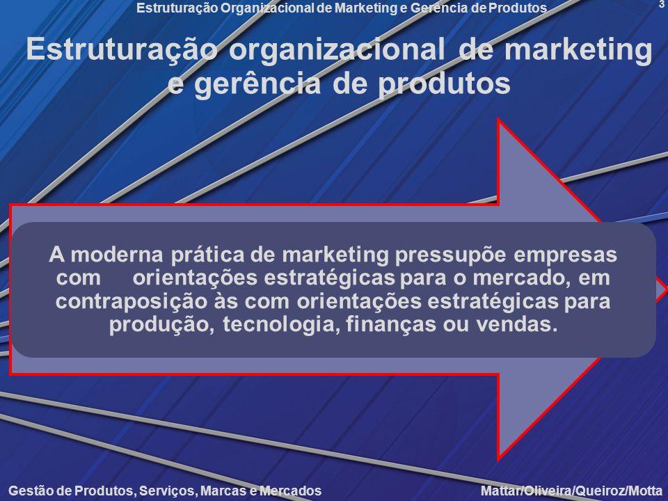 Gestão de Produtos, Serviços, Marcas e Mercados Mattar/Oliveira/Queiroz/Motta Estruturação Organizacional de Marketing e Gerência de Produtos 3 Estrut