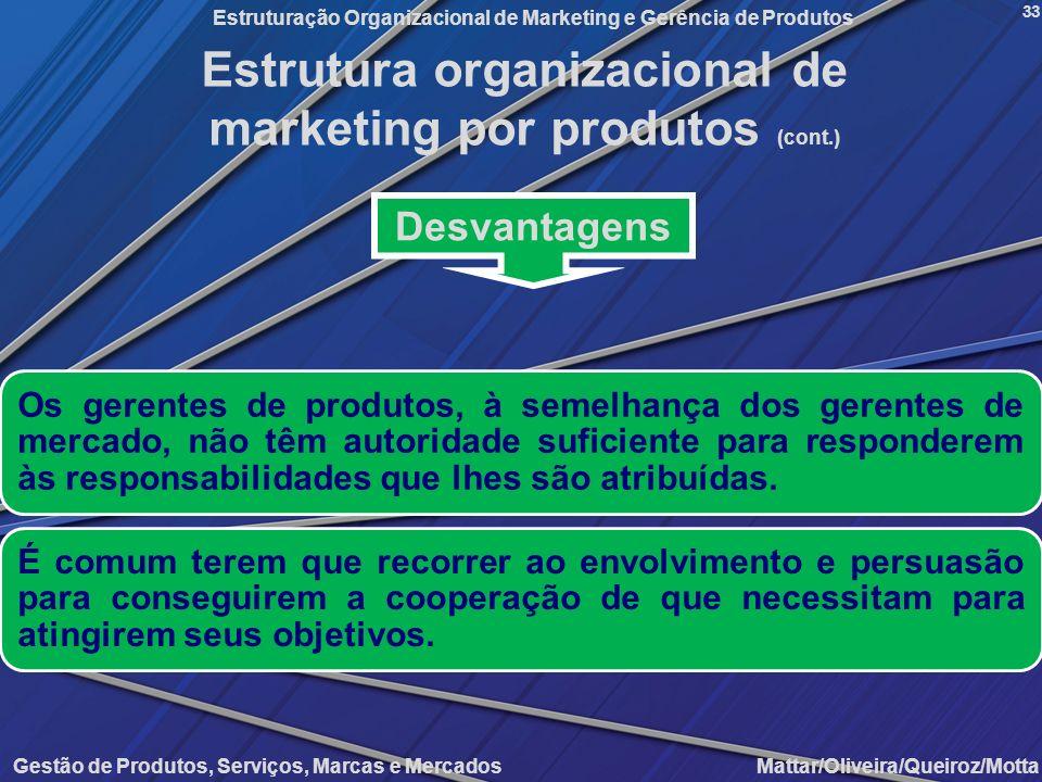Gestão de Produtos, Serviços, Marcas e Mercados Mattar/Oliveira/Queiroz/Motta Estruturação Organizacional de Marketing e Gerência de Produtos 33 Desva