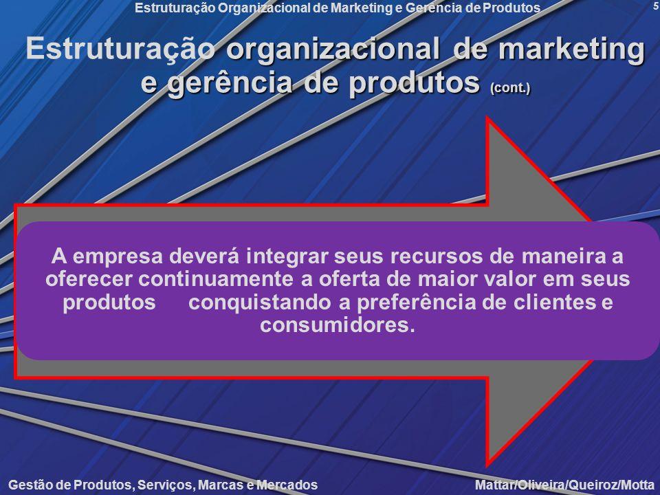 Gestão de Produtos, Serviços, Marcas e Mercados Mattar/Oliveira/Queiroz/Motta Estruturação Organizacional de Marketing e Gerência de Produtos 5 organi