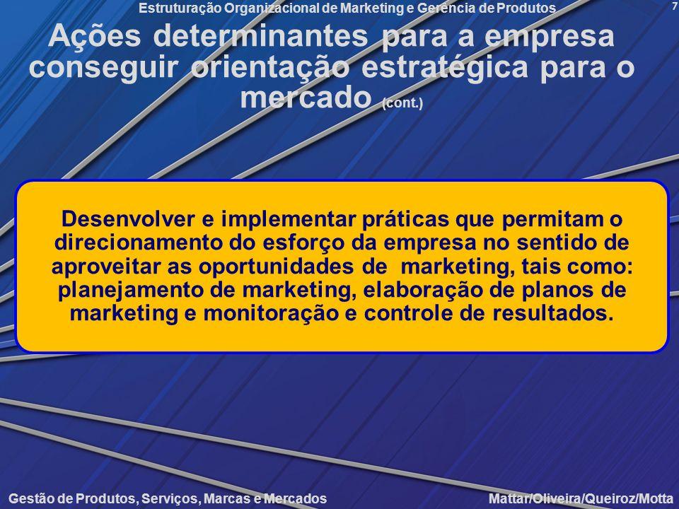 Gestão de Produtos, Serviços, Marcas e Mercados Mattar/Oliveira/Queiroz/Motta Estruturação Organizacional de Marketing e Gerência de Produtos 7 Desenv