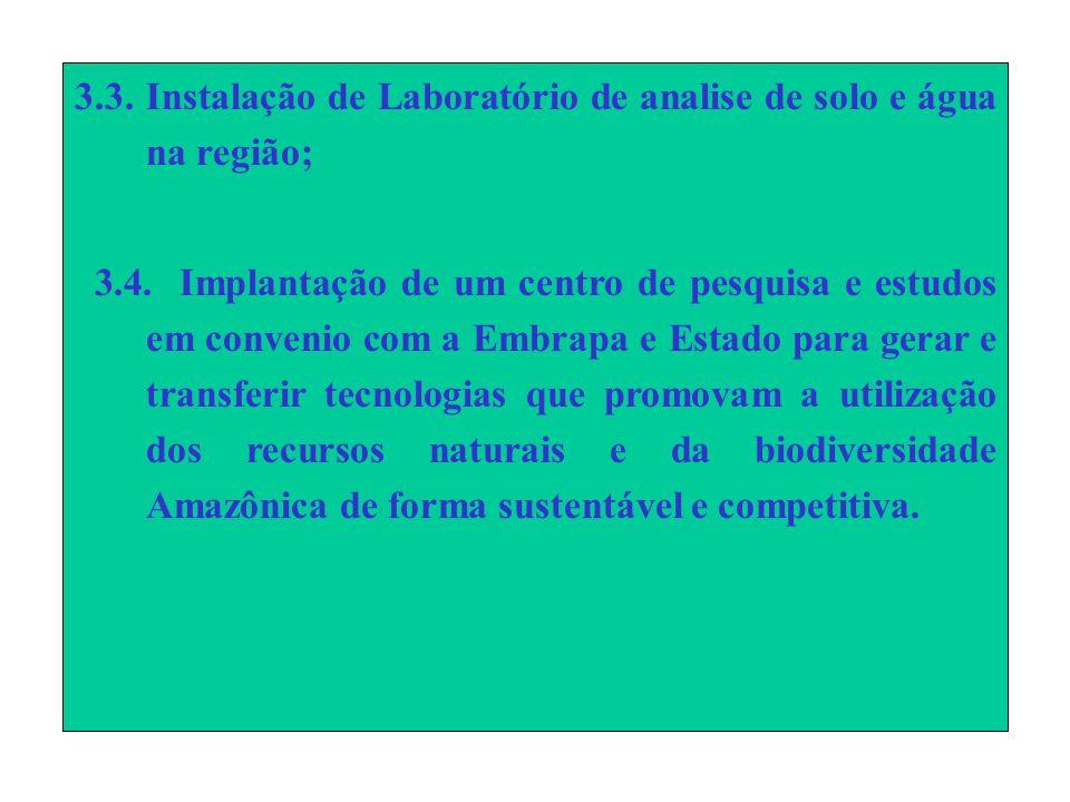 3.3.Instalação de Laboratório de analise de solo e água na região; 3.4.