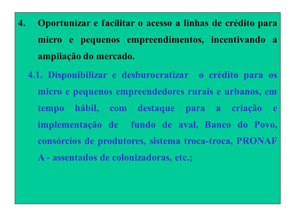 4.Oportunizar e facilitar o acesso a linhas de crédito para micro e pequenos empreendimentos, incentivando a ampliação do mercado.