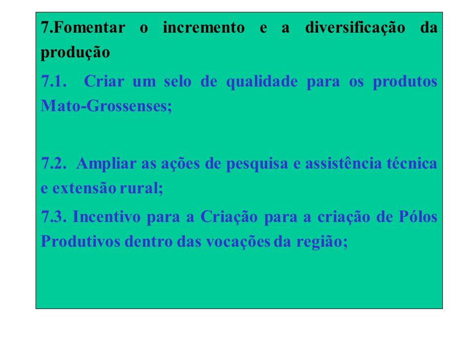 7.Fomentar o incremento e a diversificação da produção 7.1.