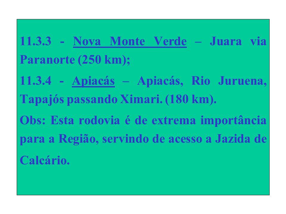 11.3.3 - Nova Monte Verde – Juara via Paranorte (250 km); 11.3.4 - Apiacás – Apiacás, Rio Juruena, Tapajós passando Ximari.
