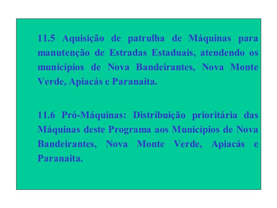 11.5 Aquisição de patrulha de Máquinas para manutenção de Estradas Estaduais, atendendo os municípios de Nova Bandeirantes, Nova Monte Verde, Apiacás e Paranaita.