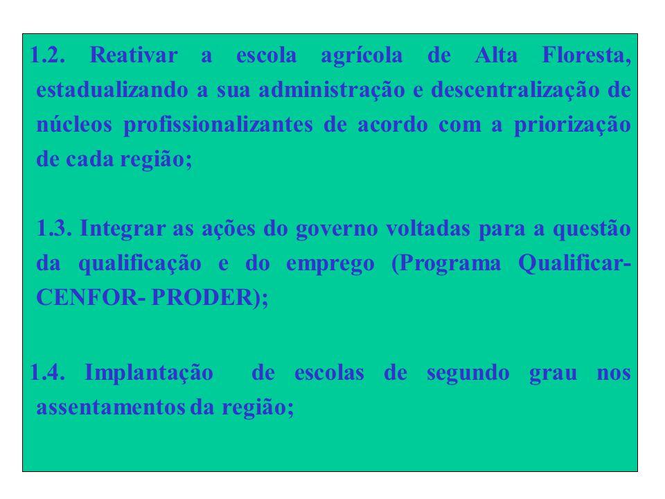 1.2. Reativar a escola agrícola de Alta Floresta, estadualizando a sua administração e descentralização de núcleos profissionalizantes de acordo com a