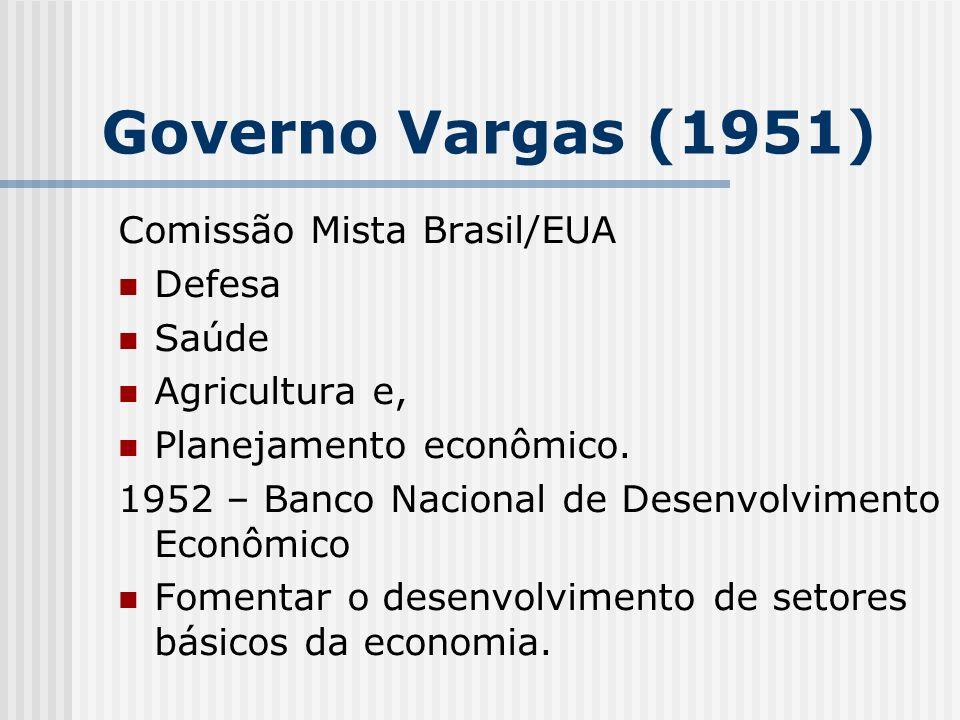 Governo Vargas (1951) Comissão Mista Brasil/EUA Defesa Saúde Agricultura e, Planejamento econômico. 1952 – Banco Nacional de Desenvolvimento Econômico