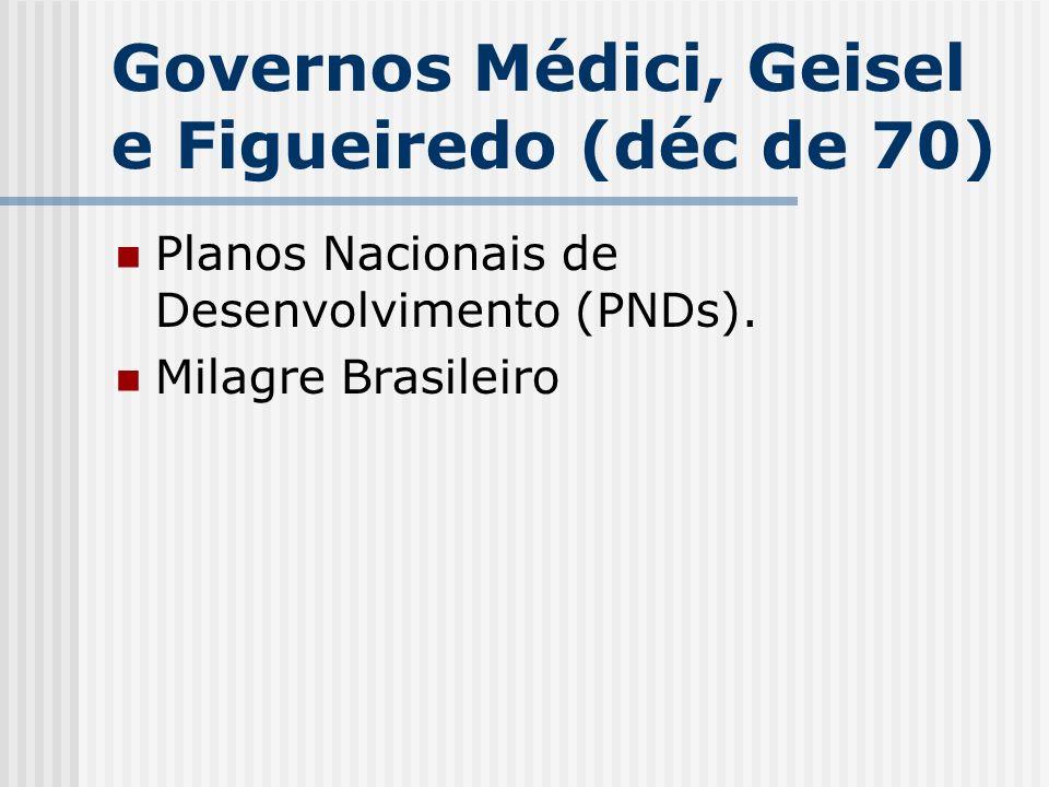 Governos Médici, Geisel e Figueiredo (déc de 70) Planos Nacionais de Desenvolvimento (PNDs). Milagre Brasileiro