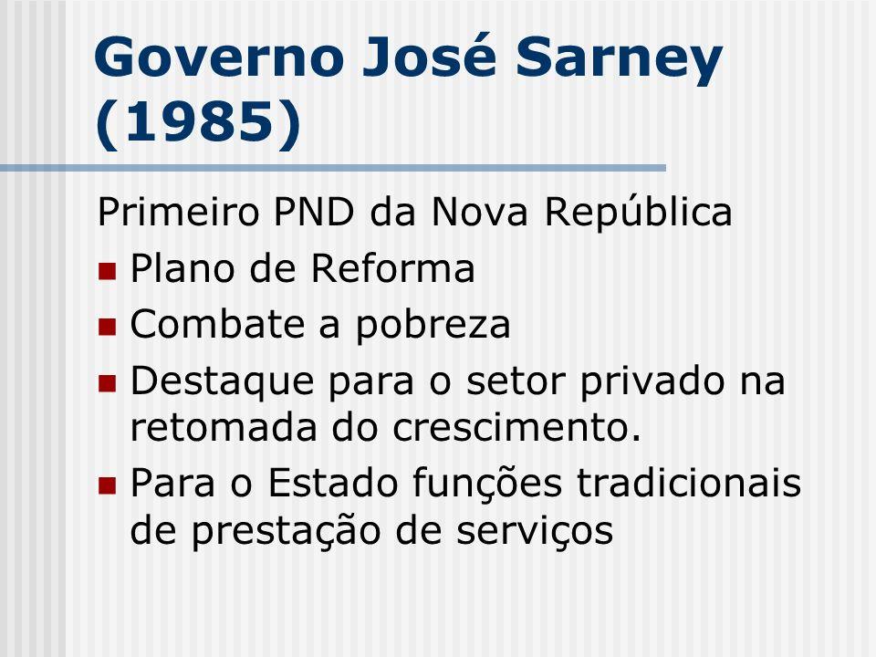 Governo José Sarney (1985) Primeiro PND da Nova República Plano de Reforma Combate a pobreza Destaque para o setor privado na retomada do crescimento.