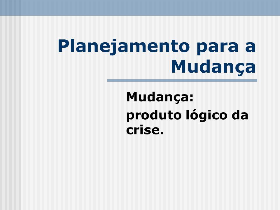 Planejamento para a Mudança Mudança: produto lógico da crise.