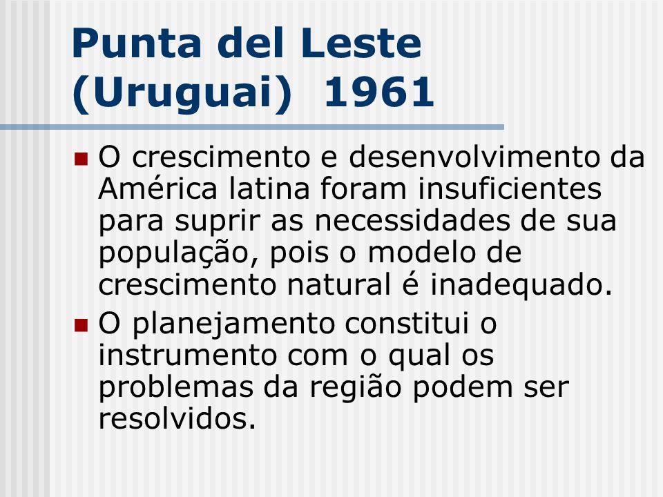 Punta del Leste (Uruguai) 1961 O crescimento e desenvolvimento da América latina foram insuficientes para suprir as necessidades de sua população, poi