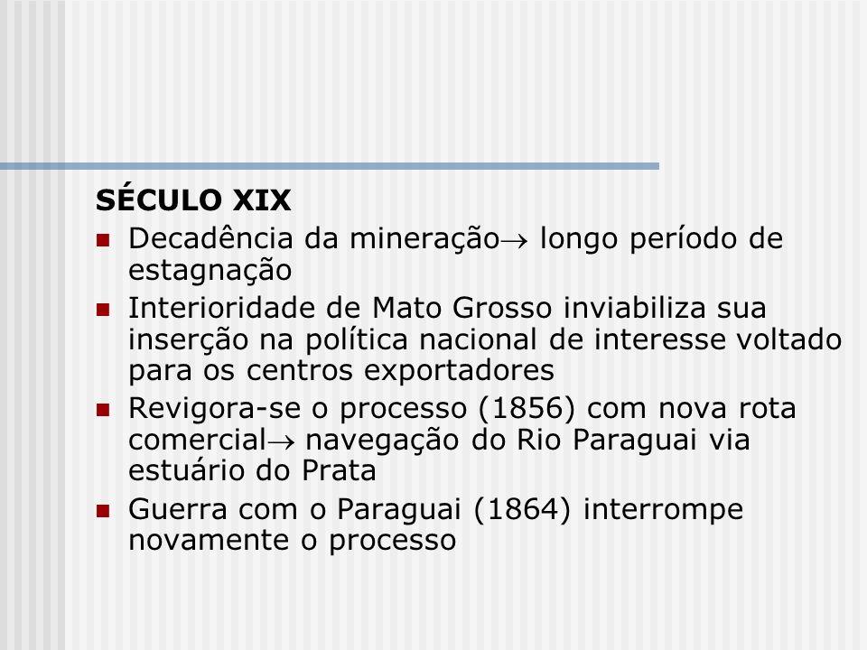 SÉCULO XIX Decadência da mineração longo período de estagnação Interioridade de Mato Grosso inviabiliza sua inserção na política nacional de interesse