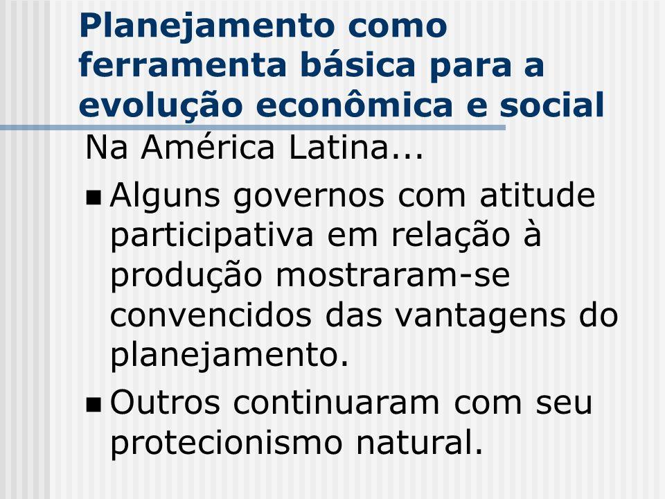 Planejamento como ferramenta básica para a evolução econômica e social Na América Latina... Alguns governos com atitude participativa em relação à pro