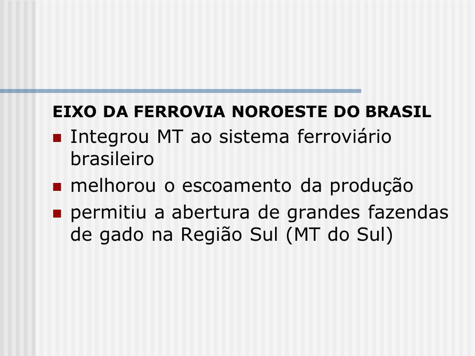 EIXO DA FERROVIA NOROESTE DO BRASIL Integrou MT ao sistema ferroviário brasileiro melhorou o escoamento da produção permitiu a abertura de grandes faz