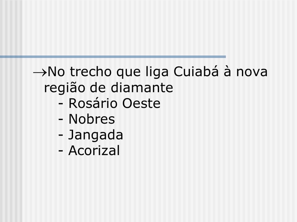 No trecho que liga Cuiabá à nova região de diamante - Rosário Oeste - Nobres - Jangada - Acorizal