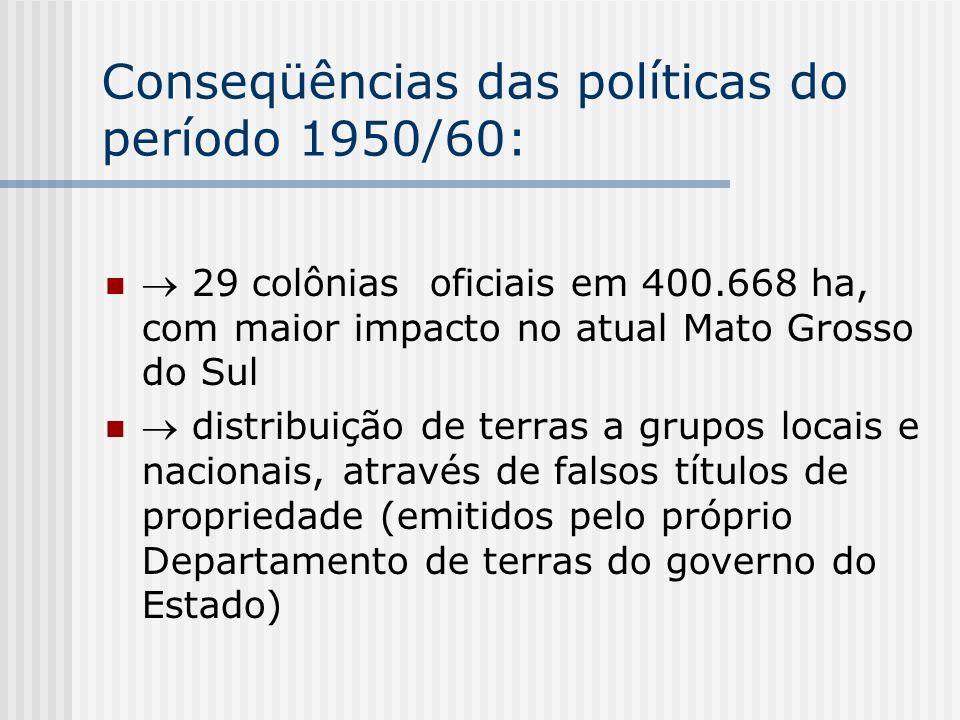 Conseqüências das políticas do período 1950/60: 29 colônias oficiais em 400.668 ha, com maior impacto no atual Mato Grosso do Sul distribuição de terr