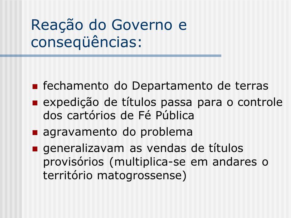 Reação do Governo e conseqüências: fechamento do Departamento de terras expedição de títulos passa para o controle dos cartórios de Fé Pública agravam