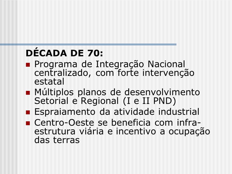 DÉCADA DE 70: Programa de Integração Nacional centralizado, com forte intervenção estatal Múltiplos planos de desenvolvimento Setorial e Regional (I e