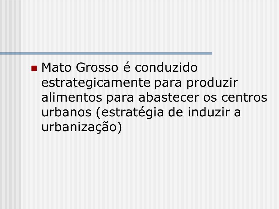 Mato Grosso é conduzido estrategicamente para produzir alimentos para abastecer os centros urbanos (estratégia de induzir a urbanização)