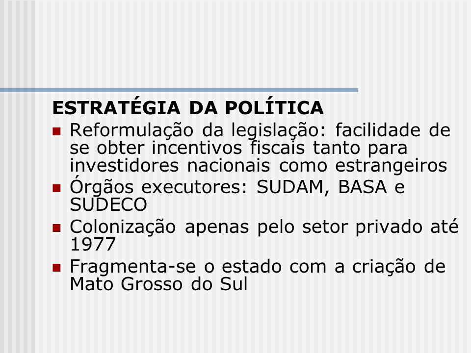 ESTRATÉGIA DA POLÍTICA Reformulação da legislação: facilidade de se obter incentivos fiscais tanto para investidores nacionais como estrangeiros Órgão