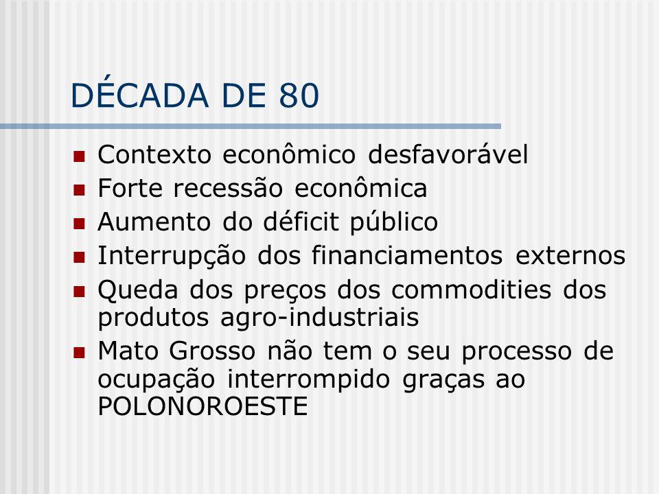 DÉCADA DE 80 Contexto econômico desfavorável Forte recessão econômica Aumento do déficit público Interrupção dos financiamentos externos Queda dos pre