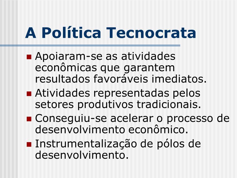 A Política Tecnocrata Apoiaram-se as atividades econômicas que garantem resultados favoráveis imediatos. Atividades representadas pelos setores produt