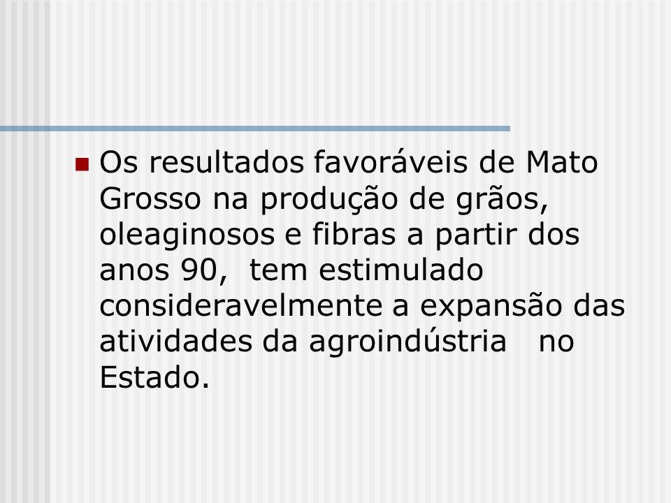 Os resultados favoráveis de Mato Grosso na produção de grãos, oleaginosos e fibras a partir dos anos 90, tem estimulado consideravelmente a expansão d