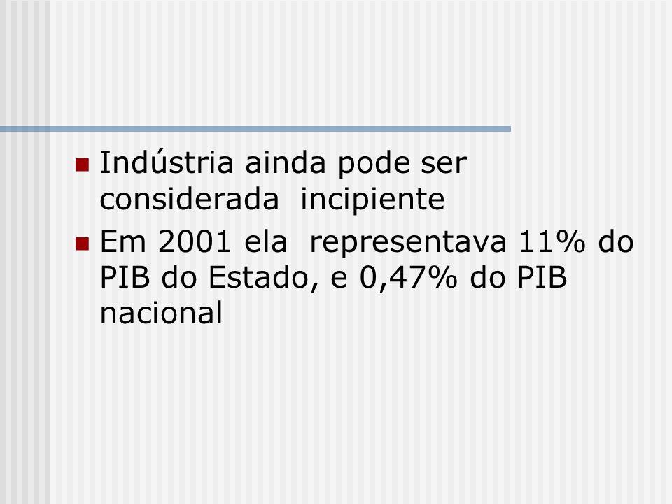 Indústria ainda pode ser considerada incipiente Em 2001 ela representava 11% do PIB do Estado, e 0,47% do PIB nacional