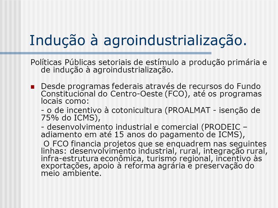 Indução à agroindustrialização. Políticas Públicas setoriais de estímulo a produção primária e de indução à agroindustrialização. Desde programas fede
