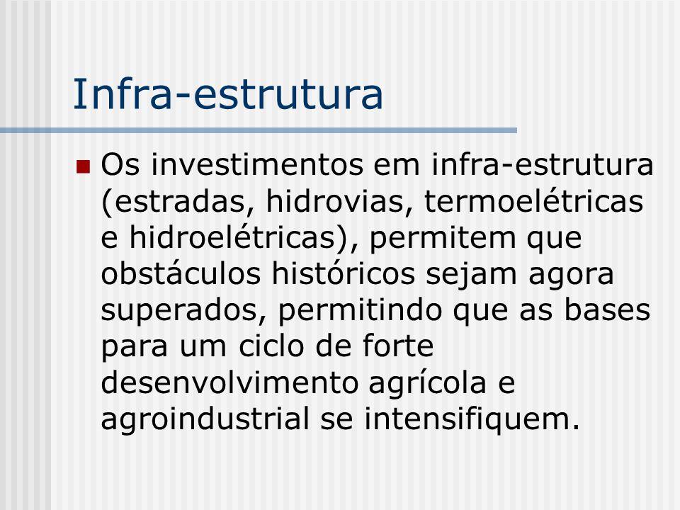 Infra-estrutura Os investimentos em infra-estrutura (estradas, hidrovias, termoelétricas e hidroelétricas), permitem que obstáculos históricos sejam a