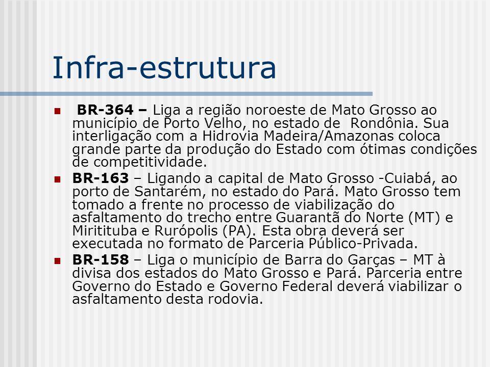 Infra-estrutura BR-364 – Liga a região noroeste de Mato Grosso ao município de Porto Velho, no estado de Rondônia. Sua interligação com a Hidrovia Mad