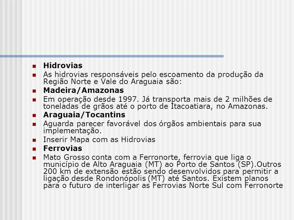Hidrovias As hidrovias responsáveis pelo escoamento da produção da Região Norte e Vale do Araguaia são: Madeira/Amazonas Em operação desde 1997. Já tr