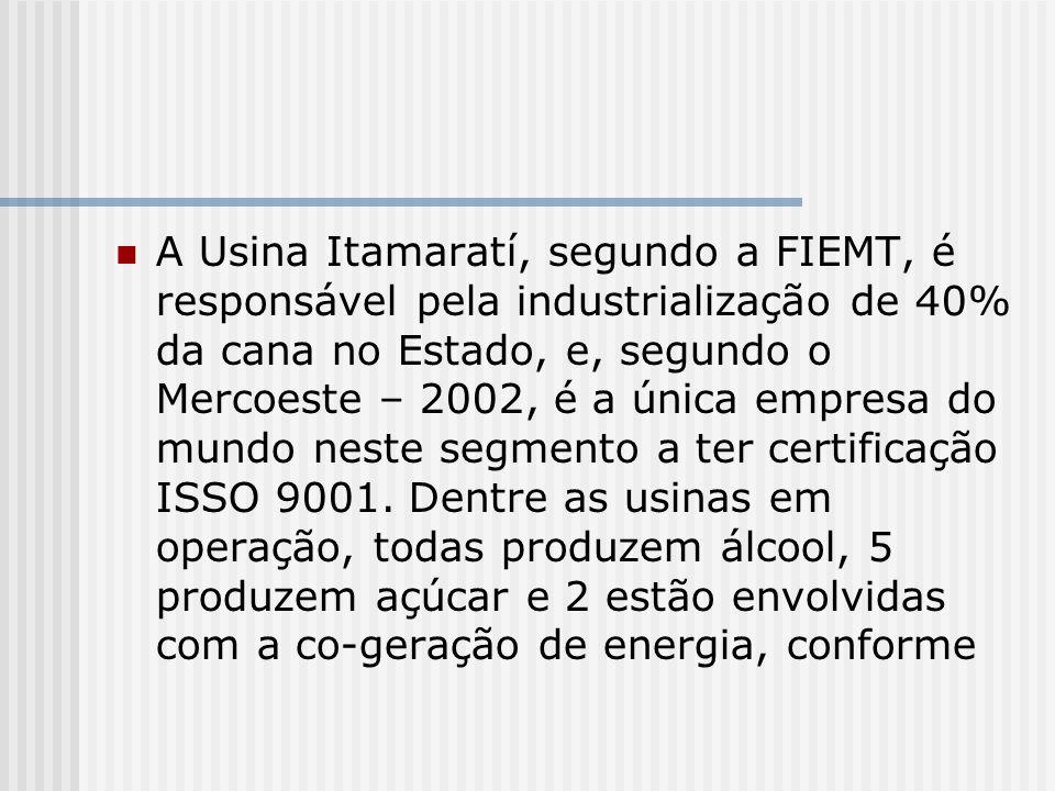 A Usina Itamaratí, segundo a FIEMT, é responsável pela industrialização de 40% da cana no Estado, e, segundo o Mercoeste – 2002, é a única empresa do