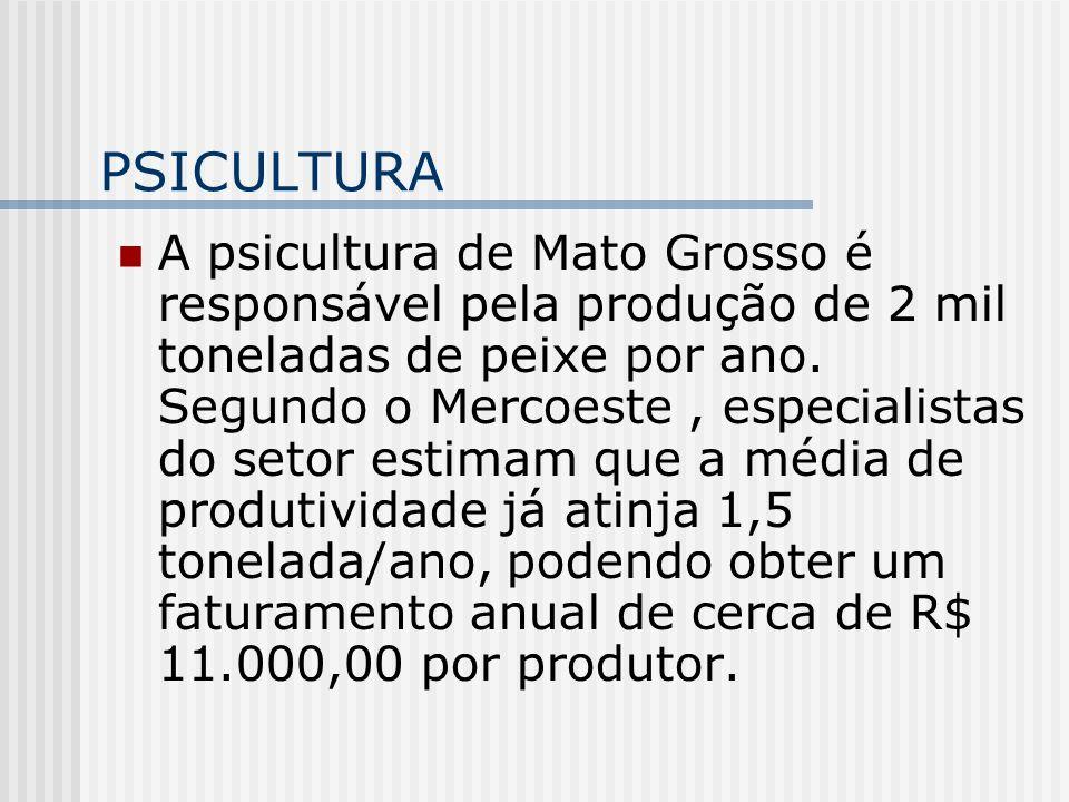 PSICULTURA A psicultura de Mato Grosso é responsável pela produção de 2 mil toneladas de peixe por ano. Segundo o Mercoeste, especialistas do setor es