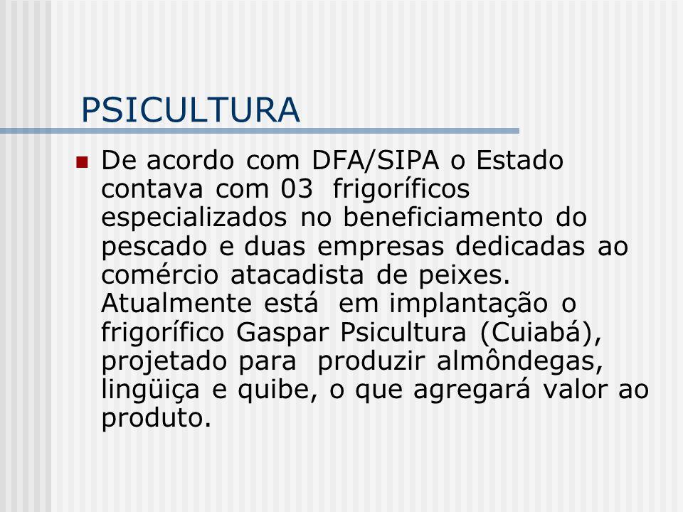 PSICULTURA De acordo com DFA/SIPA o Estado contava com 03 frigoríficos especializados no beneficiamento do pescado e duas empresas dedicadas ao comérc