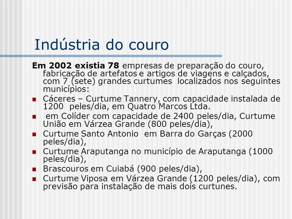 Indústria do couro Em 2002 existia 78 empresas de preparação do couro, fabricação de artefatos e artigos de viagens e calçados, com 7 (sete) grandes c