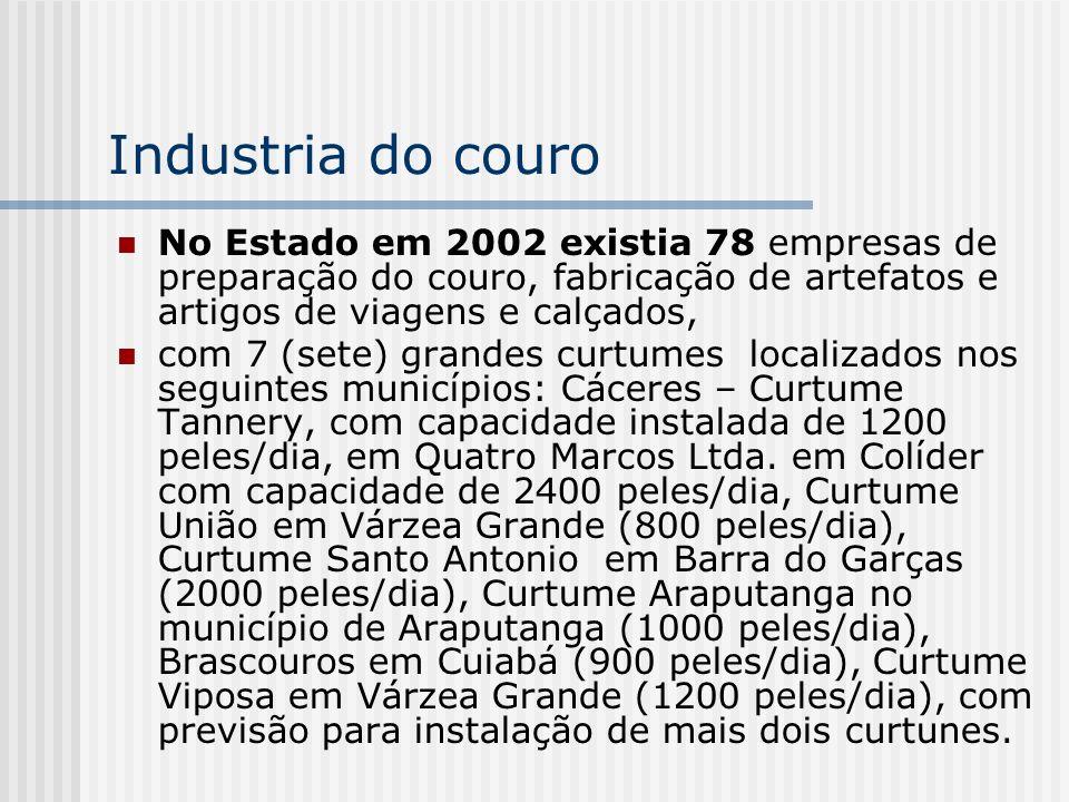 Industria do couro No Estado em 2002 existia 78 empresas de preparação do couro, fabricação de artefatos e artigos de viagens e calçados, com 7 (sete)