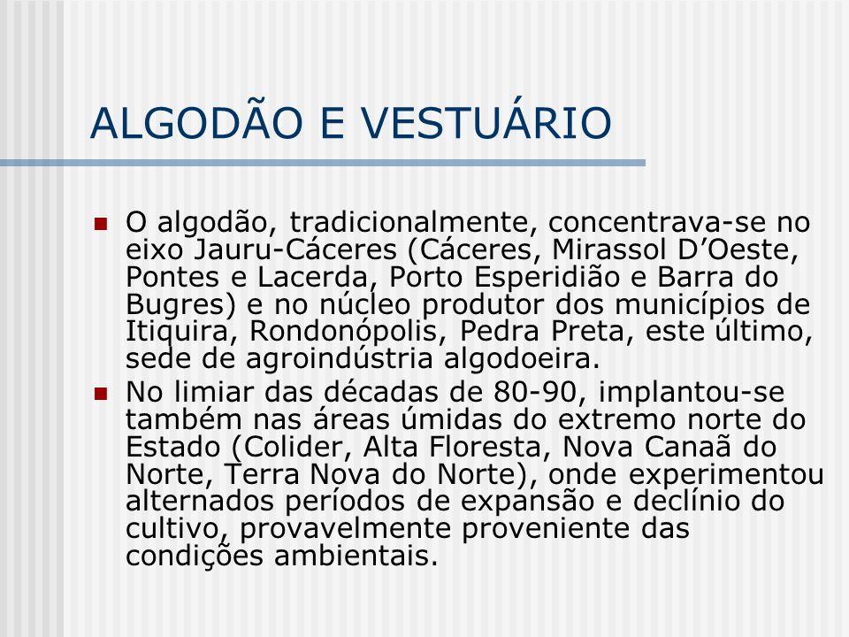 ALGODÃO E VESTUÁRIO O algodão, tradicionalmente, concentrava-se no eixo Jauru-Cáceres (Cáceres, Mirassol DOeste, Pontes e Lacerda, Porto Esperidião e