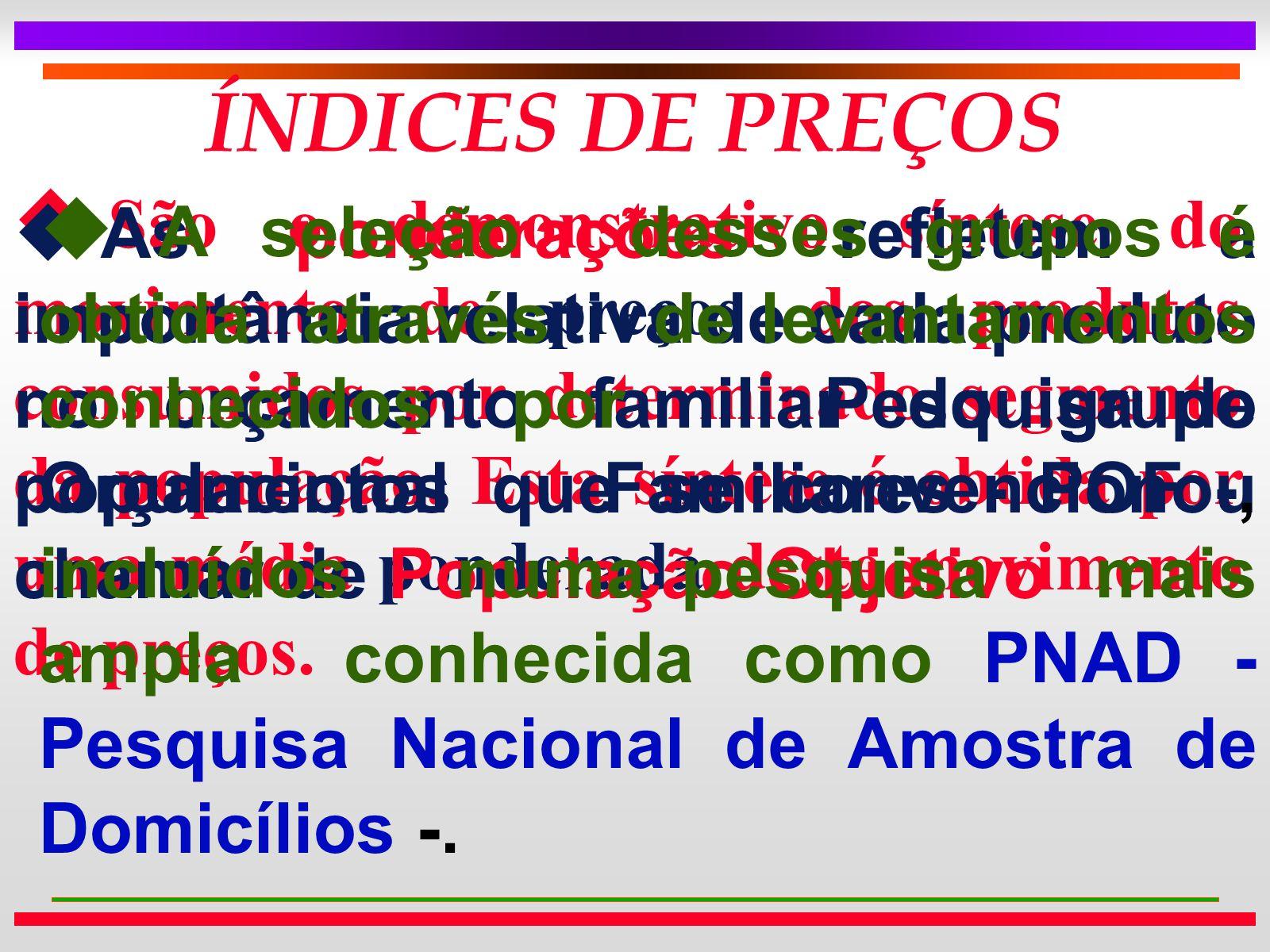 ÍNDICES DE PREÇOS u São o demonstrativo síntese do movimento de preços dos produtos consumidos por determinado segmento da população.