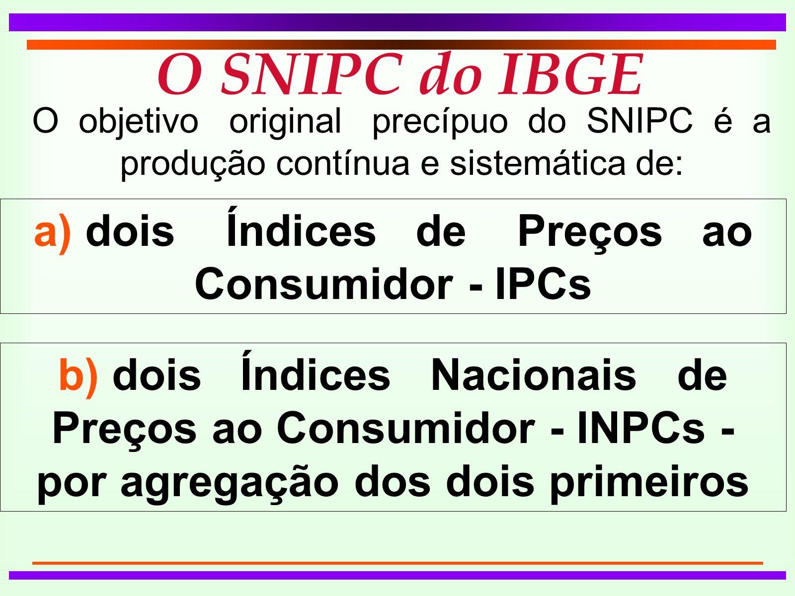 O SNIPC do IBGE O objetivo original precípuo do SNIPC é a produção contínua e sistemática de: a) dois Índices de Preços ao Consumidor - IPCs b) dois Índices Nacionais de Preços ao Consumidor - INPCs - por agregação dos dois primeiros