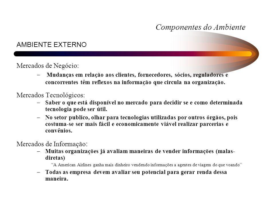 Componentes do Ambiente AMBIENTE EXTERNO Mercados de Negócio: – Mudanças em relação aos clientes, fornecedores, sócios, reguladores e concorrentes têm