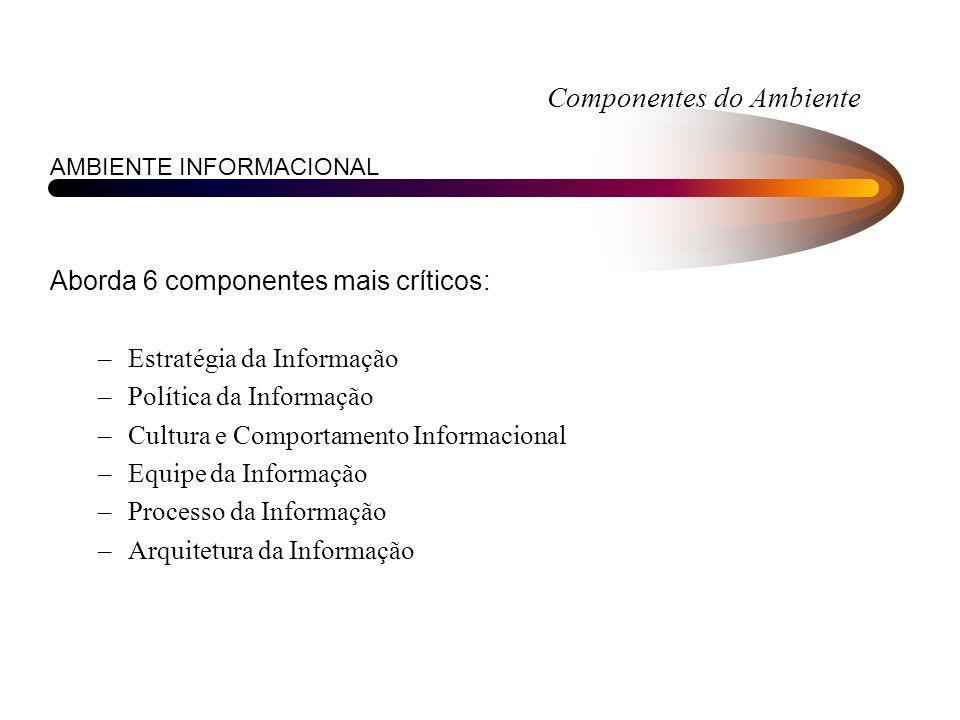 Componentes do Ambiente AMBIENTE INFORMACIONAL Aborda 6 componentes mais críticos: –Estratégia da Informação –Política da Informação –Cultura e Compor