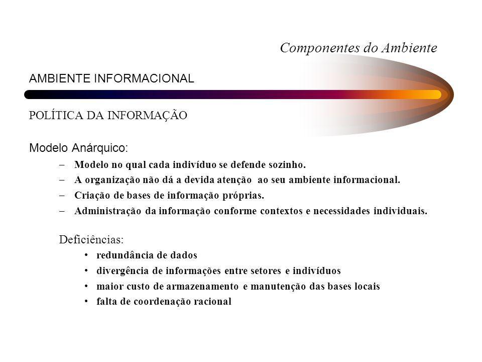 Componentes do Ambiente AMBIENTE INFORMACIONAL POLÍTICA DA INFORMAÇÃO Modelo Anárquico: –Modelo no qual cada indivíduo se defende sozinho. –A organiza