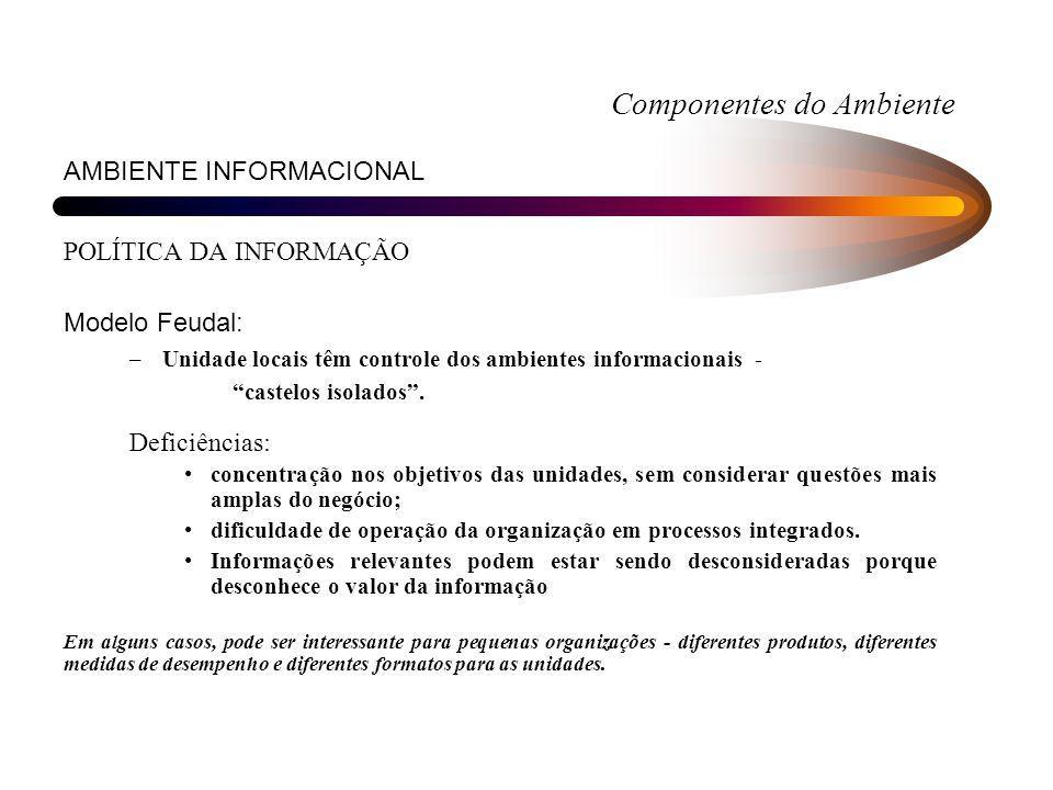 Componentes do Ambiente AMBIENTE INFORMACIONAL POLÍTICA DA INFORMAÇÃO Modelo Feudal: –Unidade locais têm controle dos ambientes informacionais - caste