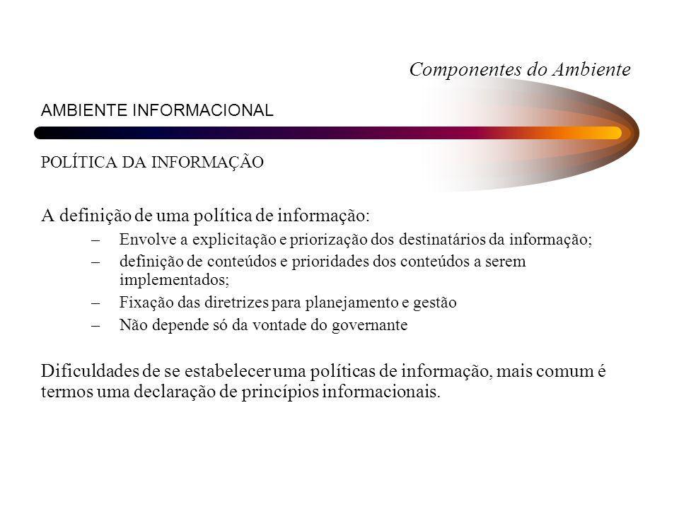 Componentes do Ambiente AMBIENTE INFORMACIONAL POLÍTICA DA INFORMAÇÃO A definição de uma política de informação: –Envolve a explicitação e priorização