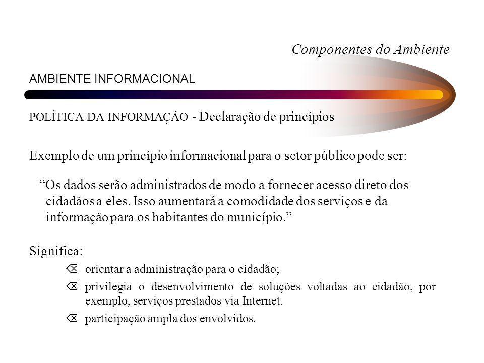 Componentes do Ambiente AMBIENTE INFORMACIONAL POLÍTICA DA INFORMAÇÃO - Declaração de princípios Exemplo de um princípio informacional para o setor pú