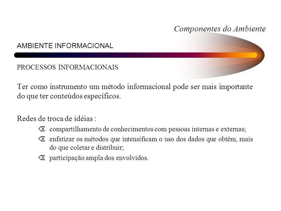 Componentes do Ambiente AMBIENTE INFORMACIONAL PROCESSOS INFORMACIONAIS Ter como instrumento um método informacional pode ser mais importante do que t