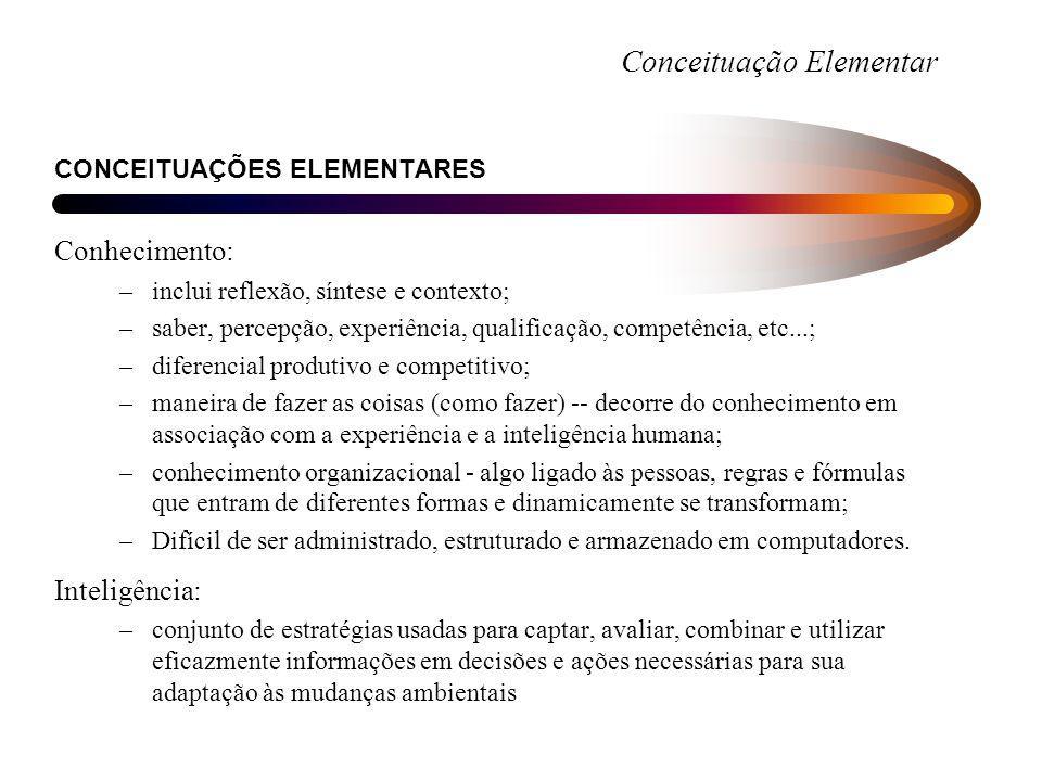 Conceituação Elementar CONCEITUAÇÕES ELEMENTARES Conhecimento: –inclui reflexão, síntese e contexto; –saber, percepção, experiência, qualificação, com