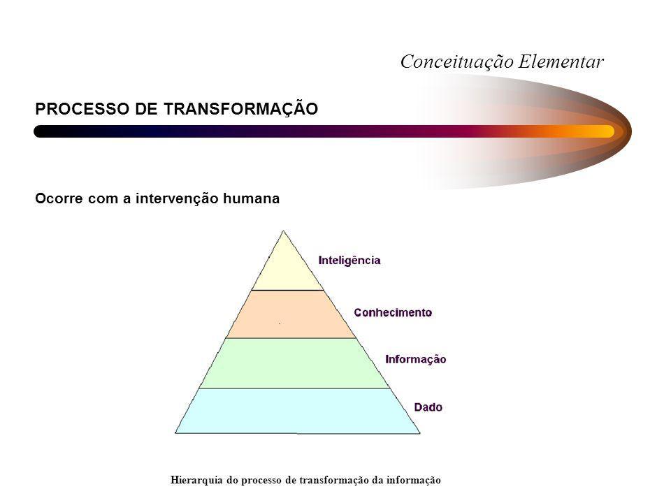 Conceituação Elementar PROCESSO DE TRANSFORMAÇÃO Ocorre com a intervenção humana Hierarquia do processo de transformação da informação