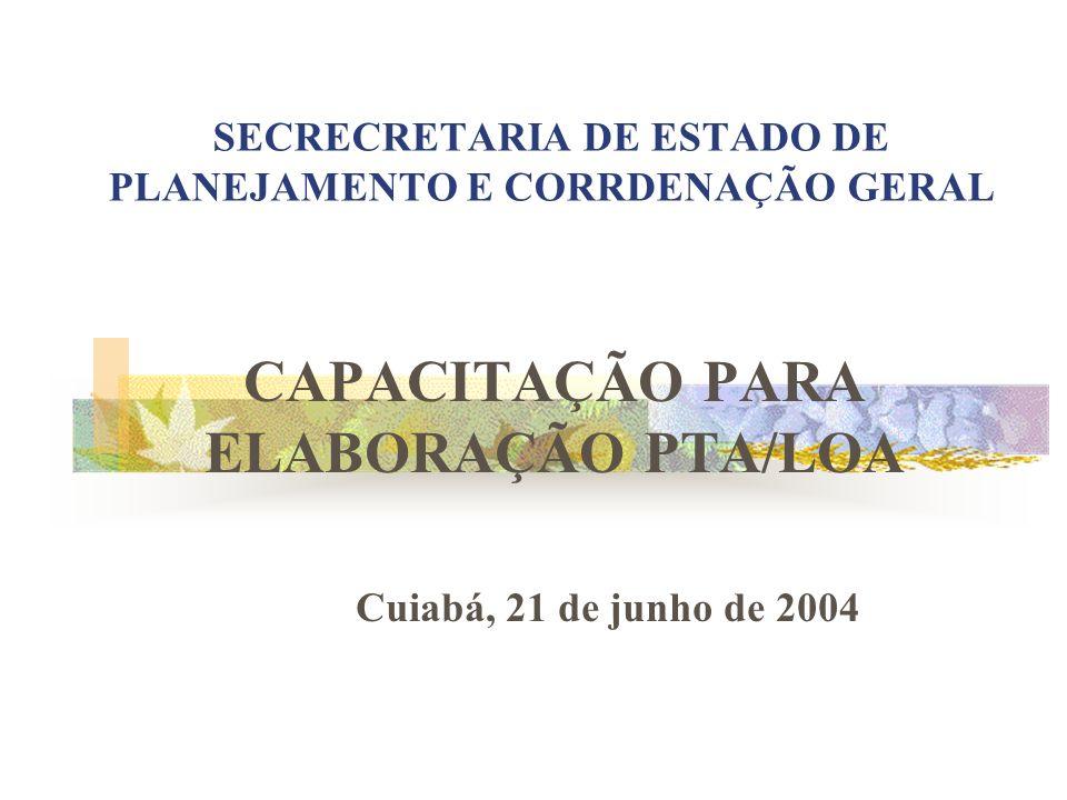 SECRECRETARIA DE ESTADO DE PLANEJAMENTO E CORRDENAÇÃO GERAL CAPACITAÇÃO PARA ELABORAÇÃO PTA/LOA Cuiabá, 21 de junho de 2004
